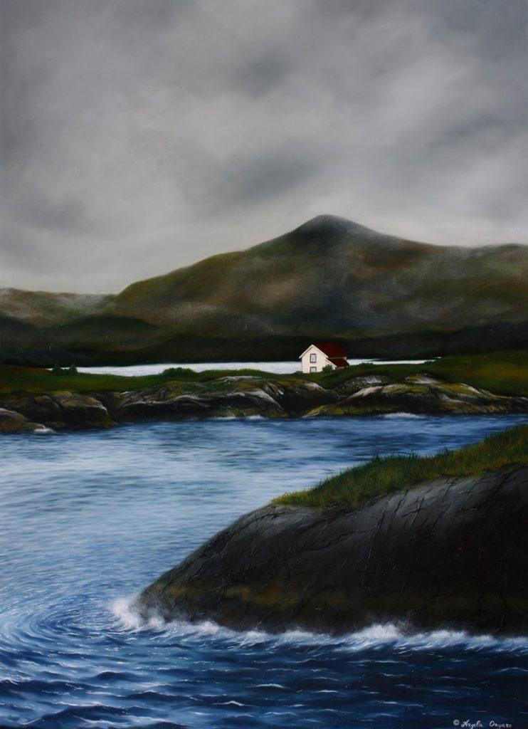 Norvegia dove l'oceano entra nel fiordo dipinto a olio dall'artista Angela Ongaro