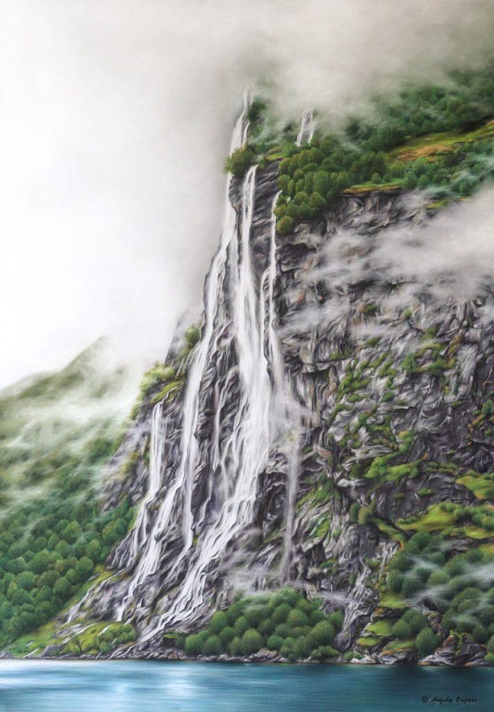 Le Sette Sorelle cascate della Norvegia ritratte a pastello dall'artista Angela Ongaro