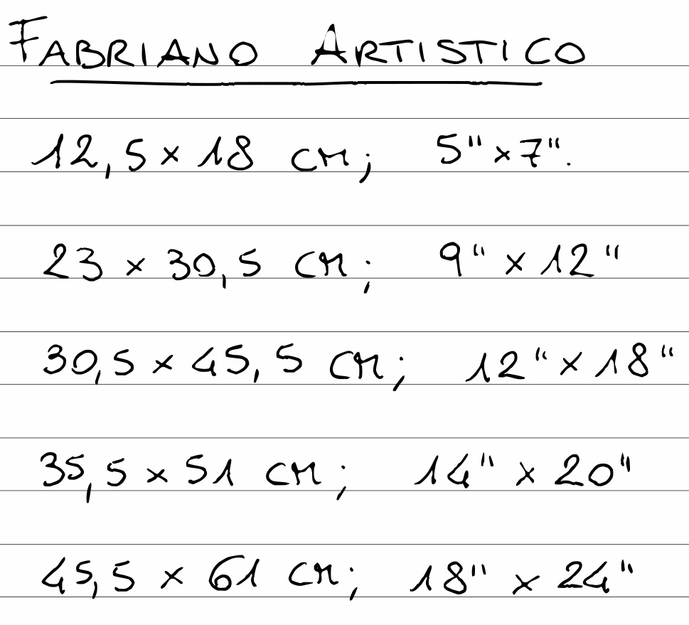 Tabella di alcuni dei formati standard degli album di carta Fabriano Artistico